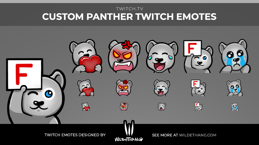 Custom Panther Twitch emotes designed by WildeThang