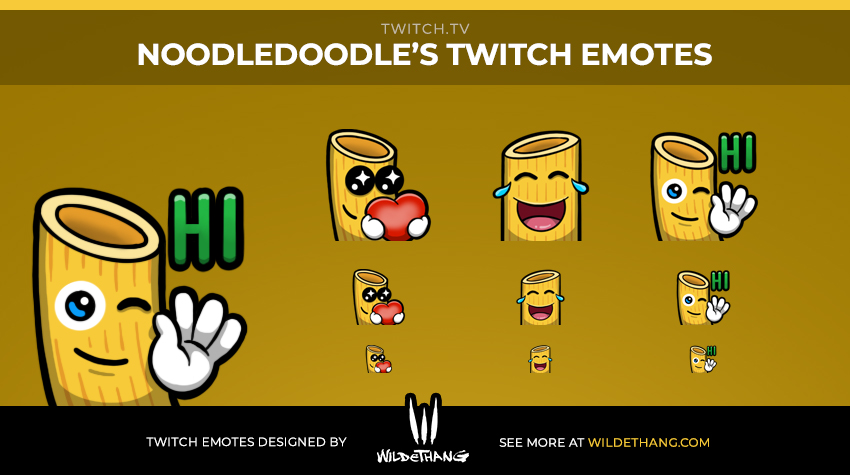 NoodleDoodle's Pasta Twitch emotes designed by WildeThang
