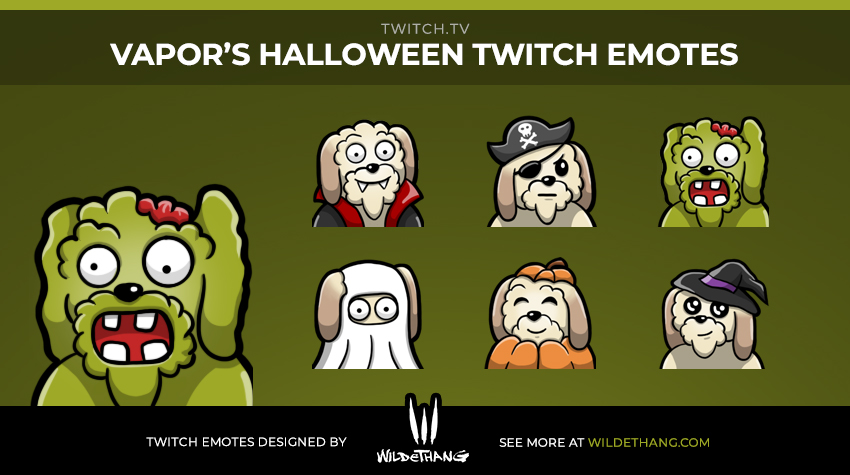 Vapor's Halloween Twitch Emotes designed by Twitch emote artist WildeThang