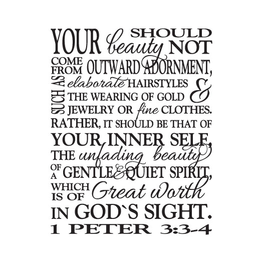 1 Peter 3:3-4 Vinyl Wall Decal version 2