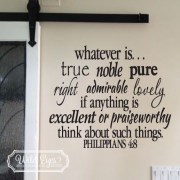Philippians 4:8 Vinyl Wall Decal Sticker Art Lettering 2