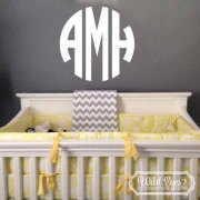 Family Name Circle Monogram Vinyl Wall Decal