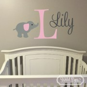 Elephant Personalized Monogram Jungle Theme Vinyl Wall Decal version 2