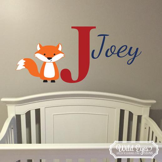 Fox Personalized Monogram Vinyl Wall Decal