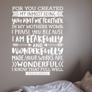 Psalm 139:13-14 Vinyl Wall Decal version 21
