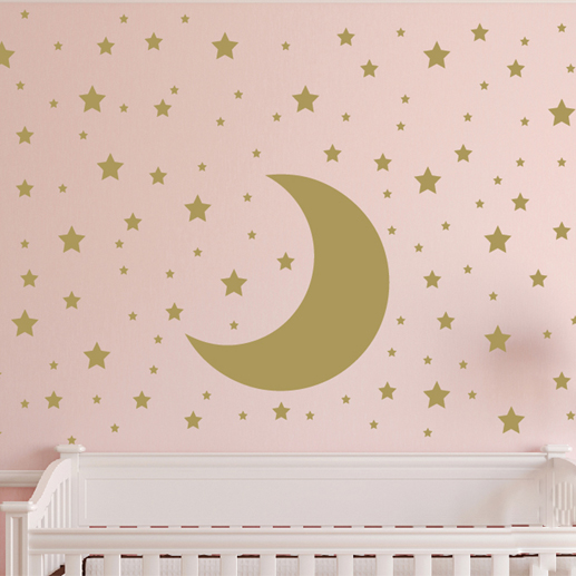 Moon, Stars, Sky, Stars, Polka Dots Vinyl Wall Decal