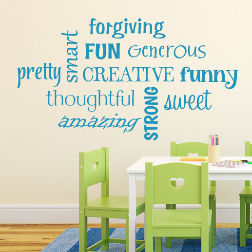 Word Collage—Strong Sweet Pretty Creative Vinyl Wall Decal