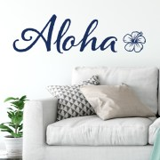 Aloha Hibiscus Flower Hawaiian Theme Vinyl Wall Decal