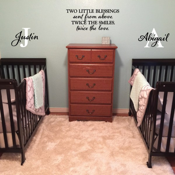 Two little blessings Vinyl Wall Decal 1