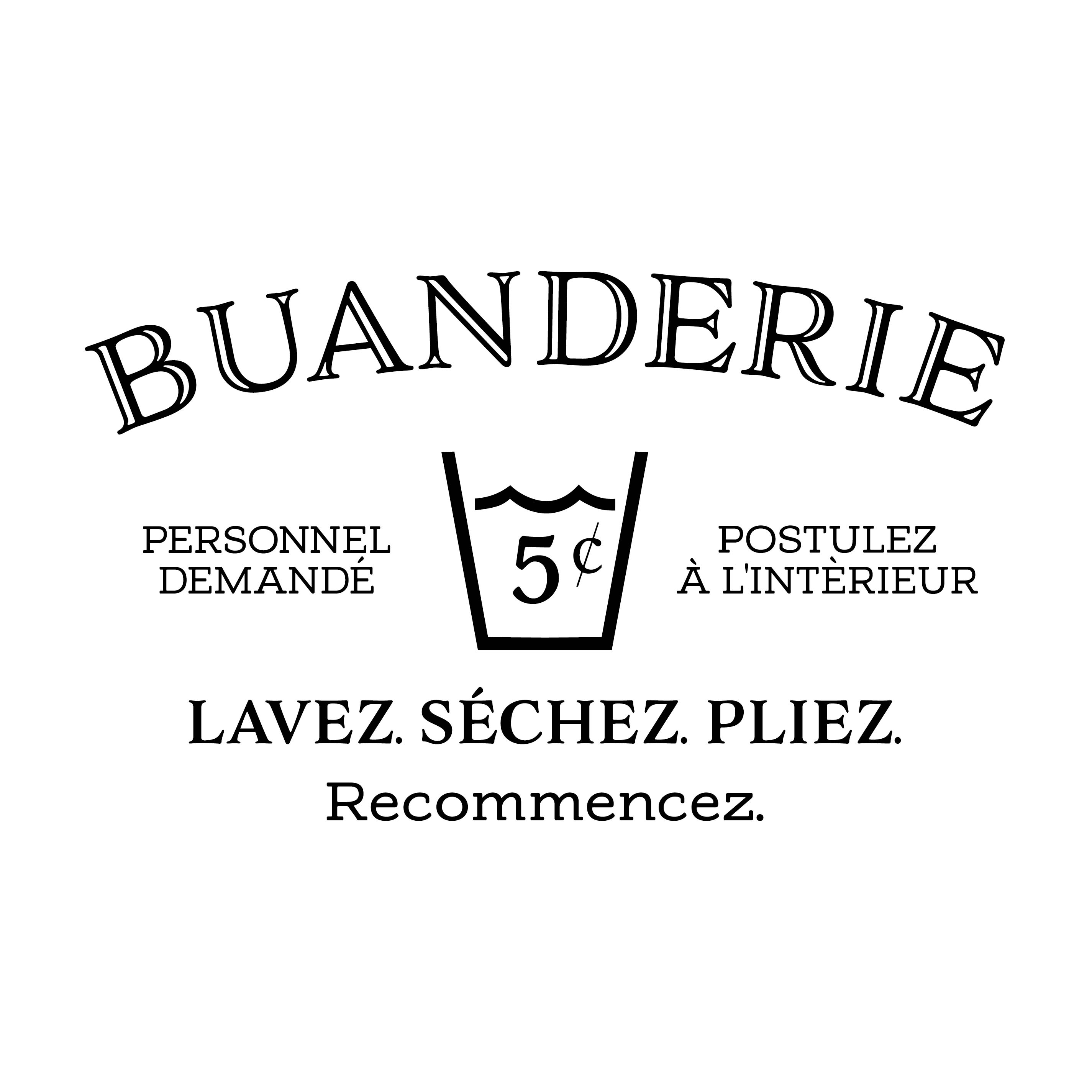 Buanderie French Laundry Vinyl Wall Decal Door Sign Sticker