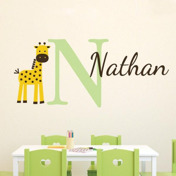 Giraffe Personalized Monogram Vinyl Wall Decal