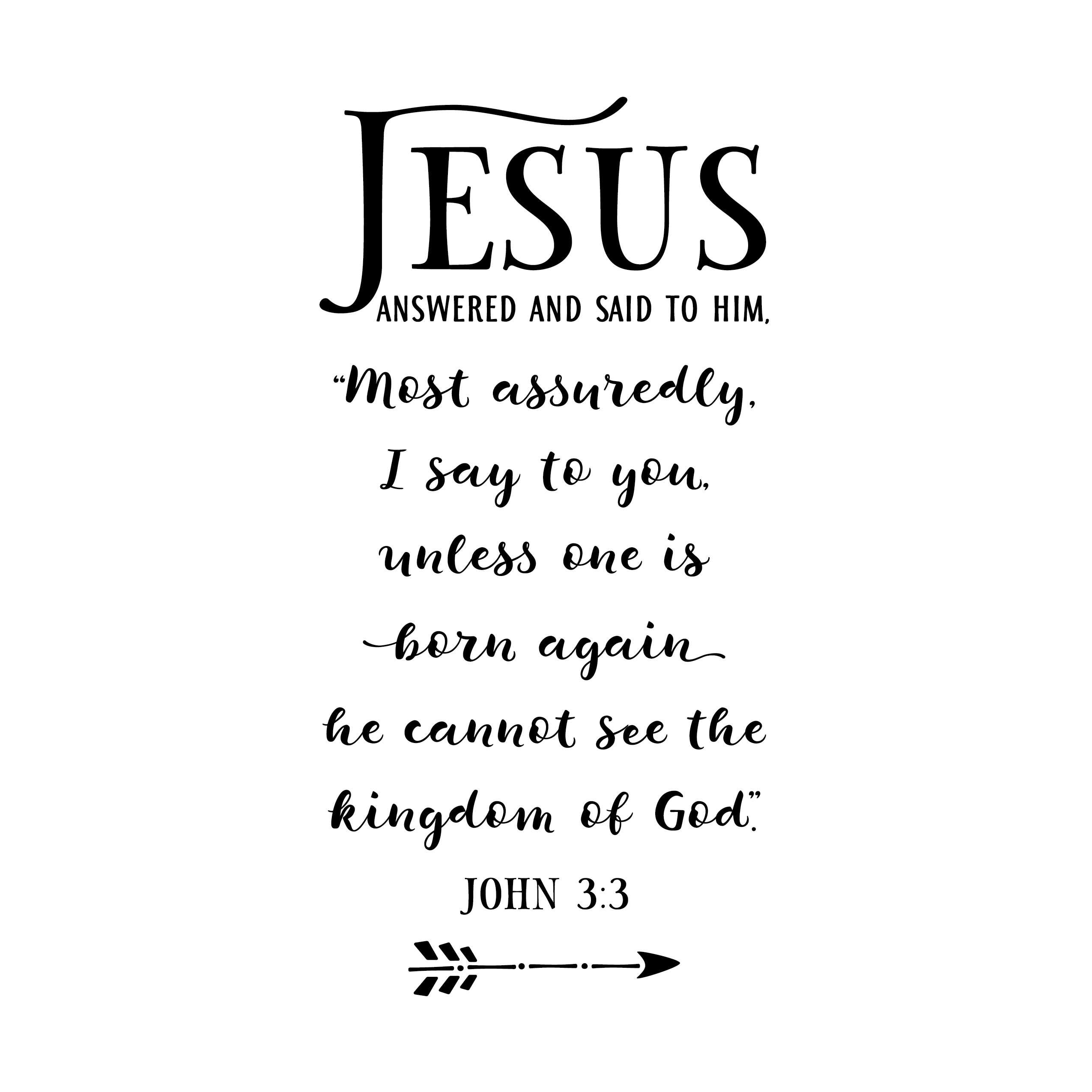 Youth Room Bible Verse Church decor wall decal John 3:3 unless one is born again he cannot see the kingdom of God vinyl JOH3V3-0001