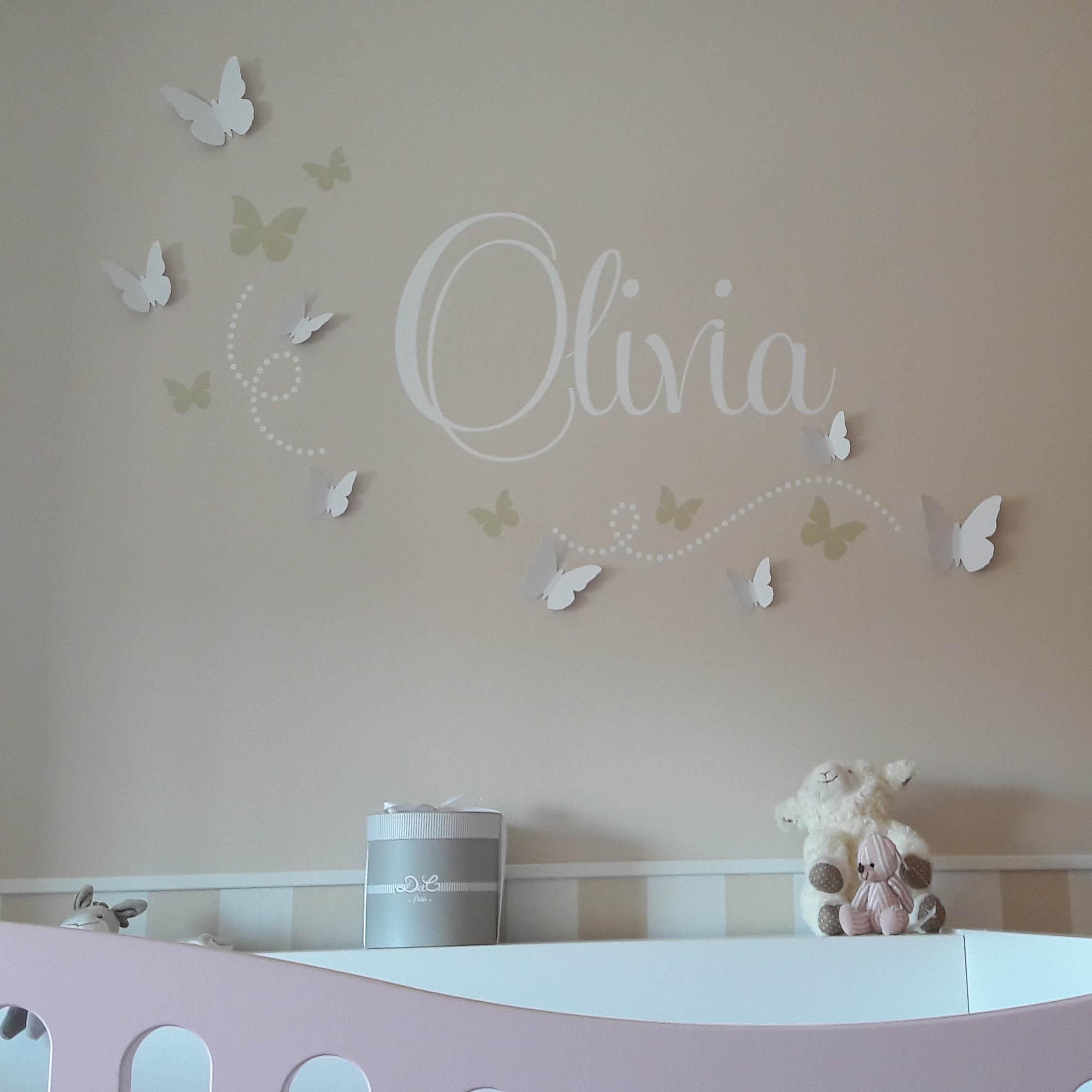 Custom Name Monogram Initial Butterflies Vinyl Wall Room Decal Sticker Decor