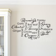 Kitchen Spice List Vinyl Wall Decal,
