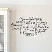 Kitchen Spice List Vinyl Wall Decal,