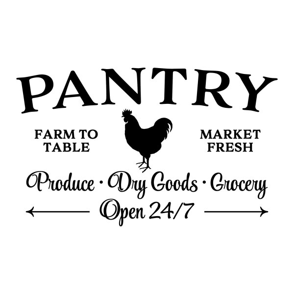 PANTRY FARM TO TABLE ROOSTER Vinyl Wall Decal