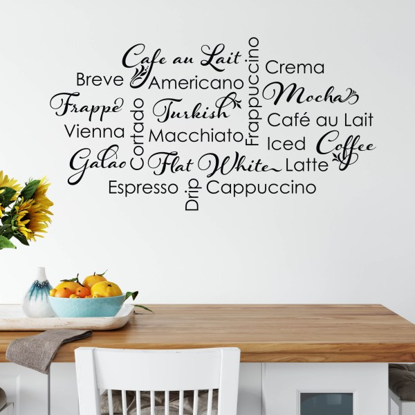 Coffee Collage Vinyl Wall Decal,
