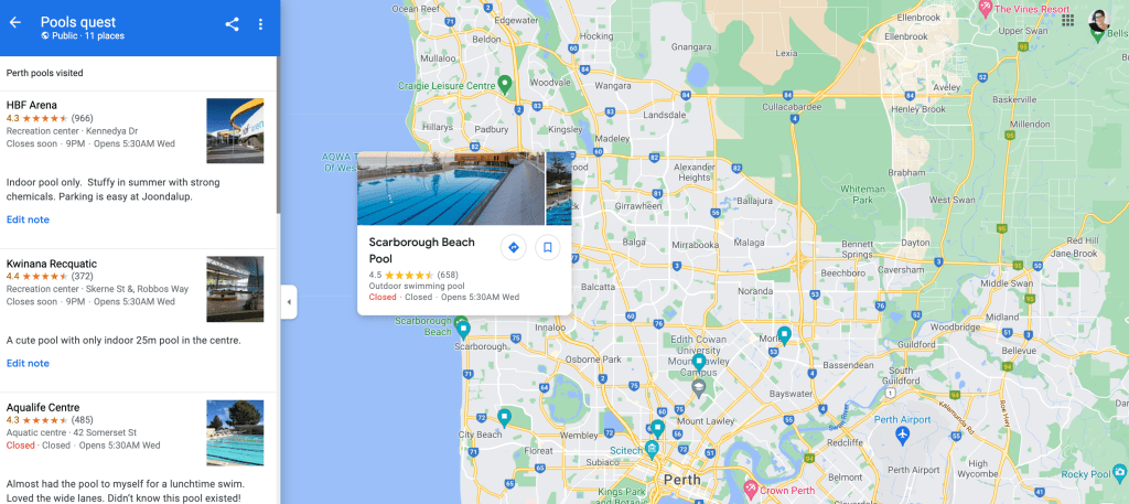 PerthPoolQuest map