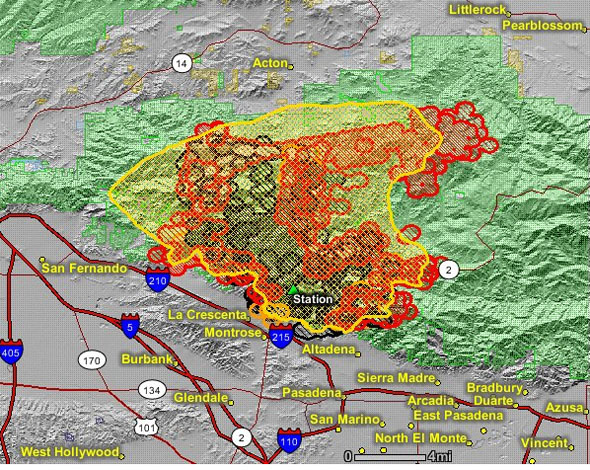 Azusa Canyon Fire Map.Station Fire Doubles In Size Overnight Wildfire Today