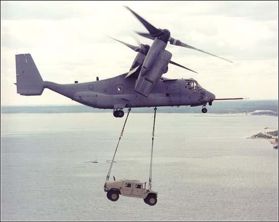 Osprey hauling a Humvee. U.S. Navy photo.