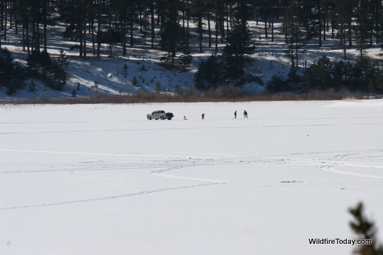 Lake Pactola ice fishermen.