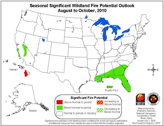 Wildfire outlook August through October, 2010