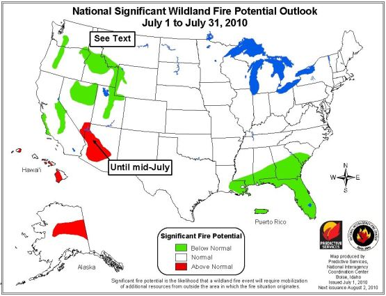 Wildfire outlook July 2010