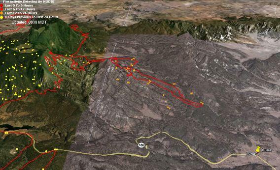 Map of Wallow backfire, data 0300 6-12-2011