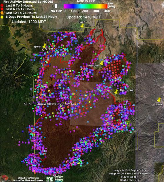 Map of Wallow fire, FRP, data 1148 6-9-2011