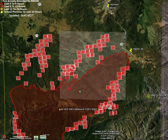 Map of Wallow fire, north half 0645 6-4-2011