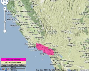 Red Flag Warning map 11-30-2011