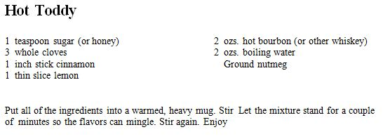 Hot Toddy recipe