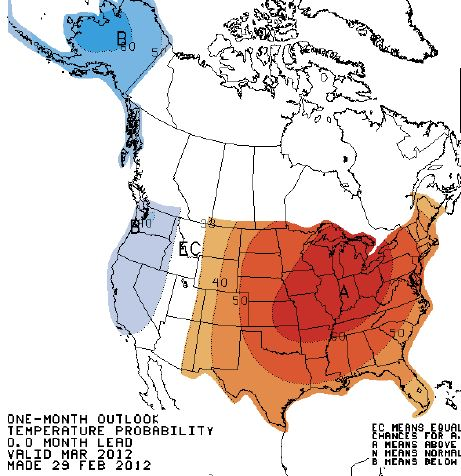 Precipitation outlook, March, 2012