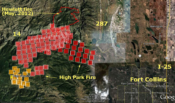 Map of High Park Fire 3:20 a.m. MT, June 10, 2012. MODIS/Google Earth/Wildfire Today