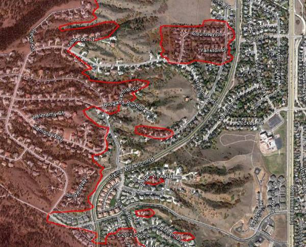 Map of Waldo Canyon fire, east side June 29, 2012