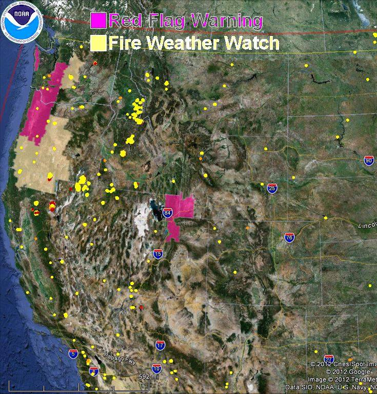 Red Flag Warnings, wildfire locations, August 16, 2012
