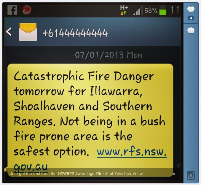 NSW RFS fire danger warning