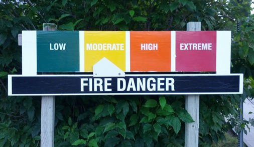 Fire danger sign near Canmore, Alberta. Photo by Bill Gabbert