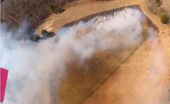 UAV view of fire