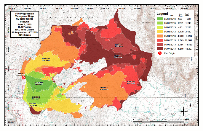 Progression map of Thompson Ridge Fire