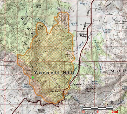 Map of Yarnell Fire, July 2, 2013,
