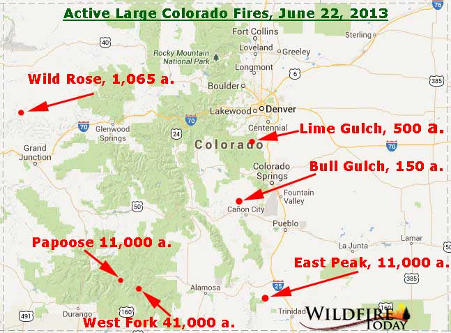 Large Wildfire Map.Map Of Colorado Wildfires June 22 2013 Wildfire Today