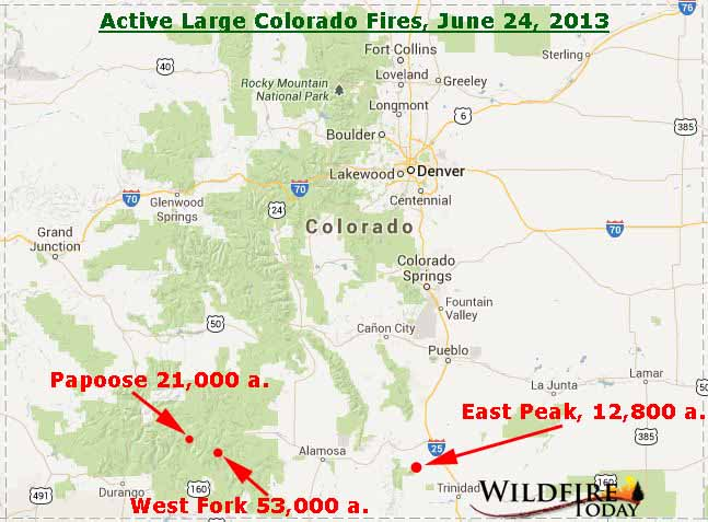 Map of Colorado Fires, June 24, 2013 - Wildfire Today Durango Co Map on