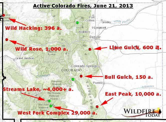 Map of Colorado wildfires - June 21, 2013