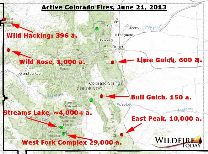 Fires Colorado Map.Map Of Active Fires In Colorado June 21 2013 Wildfire Today