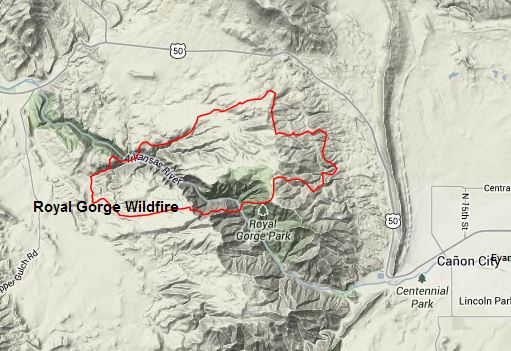 Map Of Royal Gorge Fire 6 12 2013 Nws Nifc Wildfire Today
