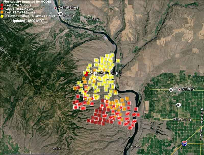 Map of Colockum Fire at 11:56 a.m. PDT July 29, 2013