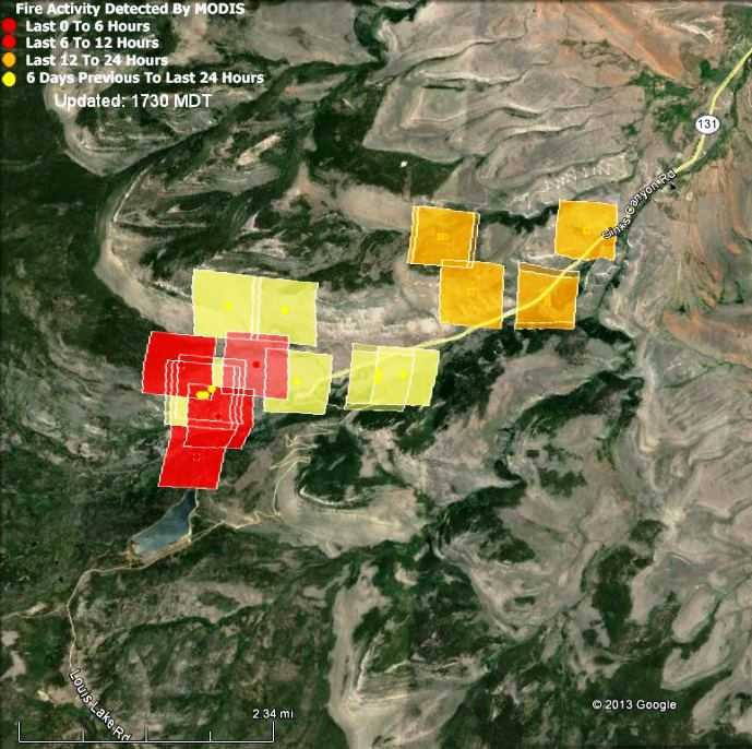 Map Of Heat Detected On The Fairfield Fire At 1 39 P M Mdt July 23