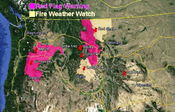 wildfire Red Flag Warnings, July 27, 2013