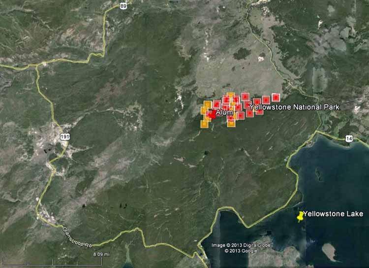 Map of Alum Fire at 11 p.m. MDT, August 18, 2013
